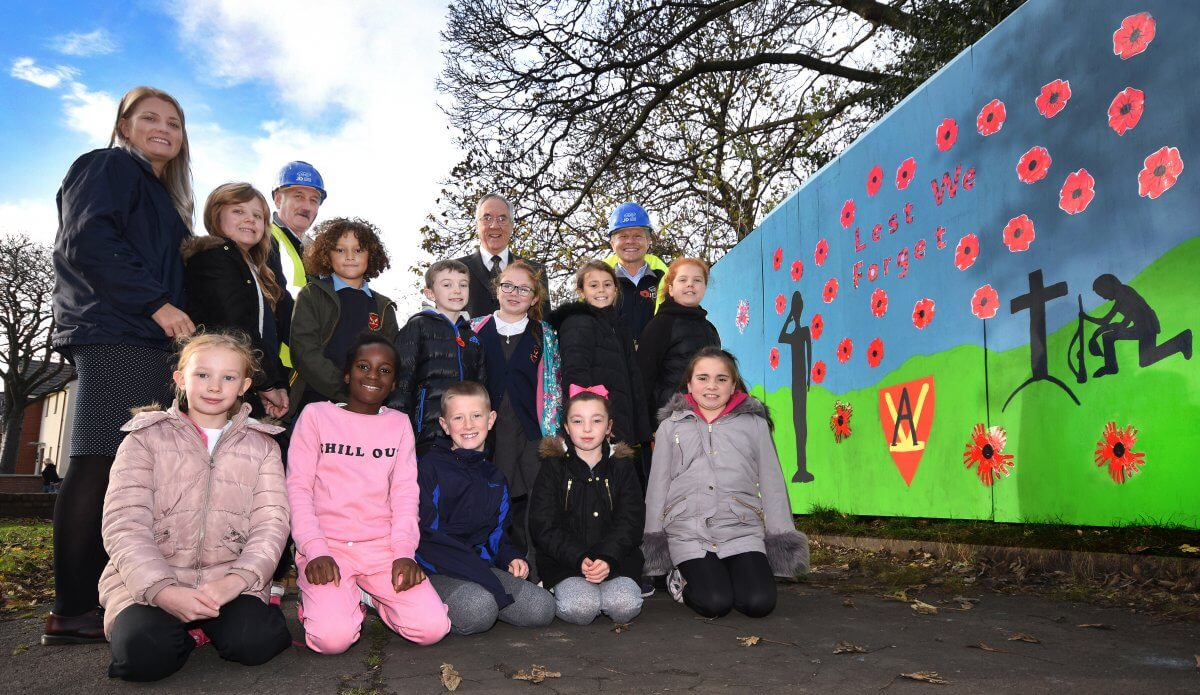 Ashley Primary school pupils unveil remembrance day memorial